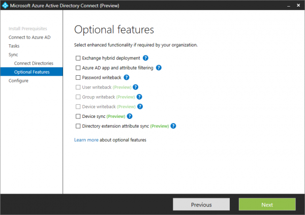 Configure the optional options