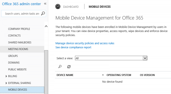 After a login in again you see the Mobilde Devices node.