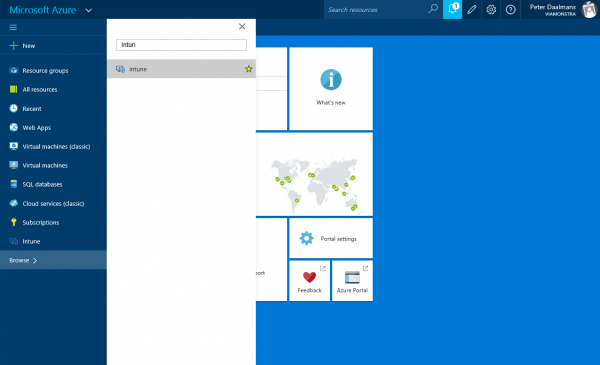 Add Intune node to the quick access bar
