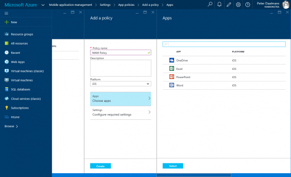 Create the policy and select the apps that need to be managed