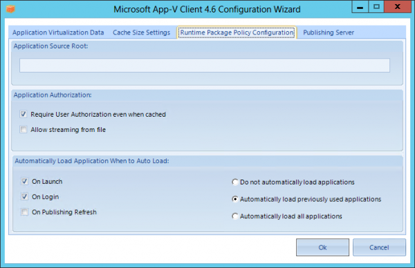 Configuration Wizard for the App-V Client