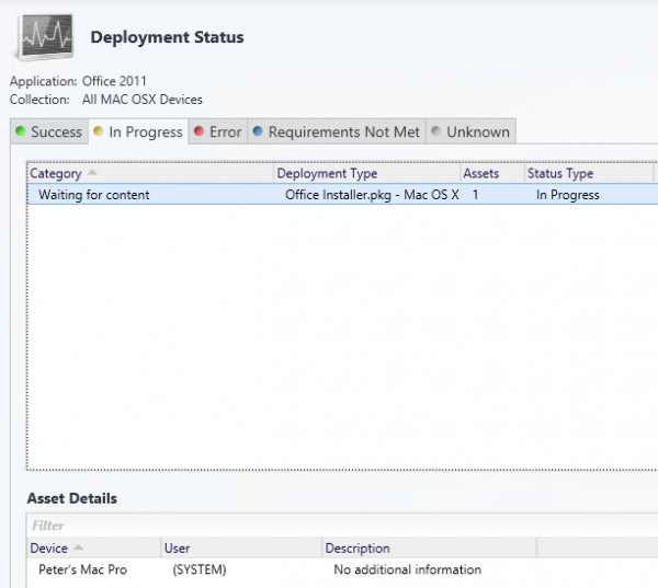 Deployment status in the Configuration Manage console