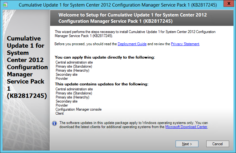 Cumulative Update 1 for Configuration Manager SP1 released
