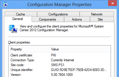 ConfigMgr client connected to the Internet