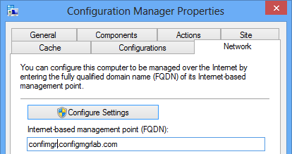 FQDN of the Internet Based Management Point