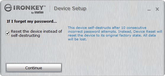 Select this checkbox for sure, just reset instead of self-destruct.