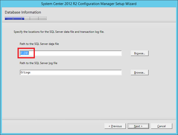ConfigMgr installation failed because of backslash in