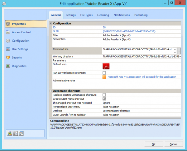 "Create a managed App-V ""application"" in RES Workspace Manager"