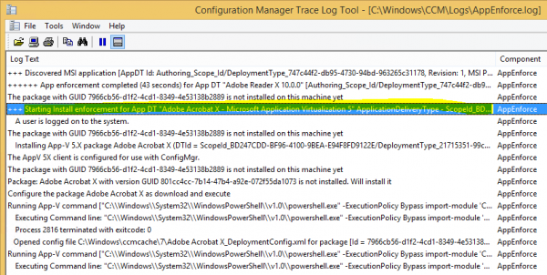 The Configuration Manager 2012 R2 Client is handling the application request / enforcement