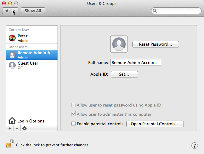 Enabling Remote Administration on a Mac OS X device with