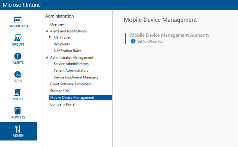 Hey my MDM authority is set to Office 365 in Microsoft