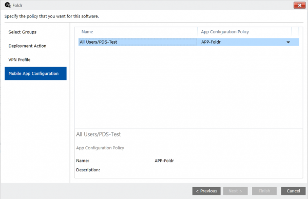 Adding the mobile app configuration policy to the deployment